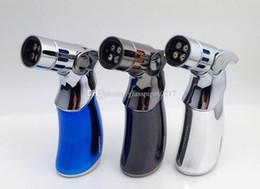 Isqueiro a gás jobon on-line-JOBON Metal Fourfold chama Spray de Chama Ajustável Butano Jato de Gás Cigarro Tocha de Soldagem Mais Leve Com Caixa de Presente Isqueiros Cozinha Ferramenta de Acesso