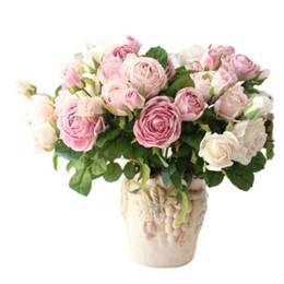 Argentina 43 cm 3 rosas británicas de alta calidad flores artificiales de seda de flores al por mayor exquisito patrón de flores de color suave cheap quality silk roses Suministro