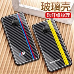 Para huawei mate 20 pro fibra de carbono logotipo do carro de luxo de vidro do telefone móvel shell para huawei mate20 lite bmw audi sline rs amg de Fornecedores de telefones de carro bmw