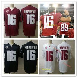 2019 jersey patriota negro Washington State Cougars Jersey de fútbol americano universitario Gardner Minshew II cosido Rojo Blanco # 16 Jersey del estado de Washington Gardner Minshew II S-3XL
