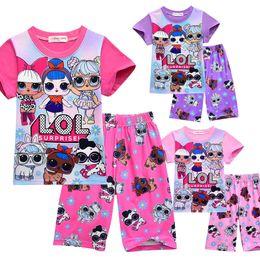 Kinder kurzarm pyjama online-T-Shirt Pyjama Set 3D Farbdruck Neue Cartoon Mädchen Kurzarm T-Shirt Shorts Anzug Sommer Kinderbekleidung Kinder Mädchen Outwear Kleidung
