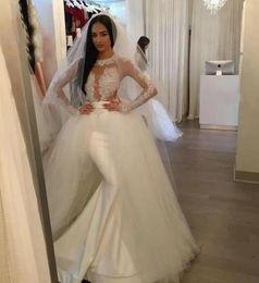 Vestido de casamento de cetim removível on-line-China New Custom Made Sexy Vestido De Noiva com Mangas Sereia De Cetim Francês Removível Tulle Overskirt Vestido De Noiva