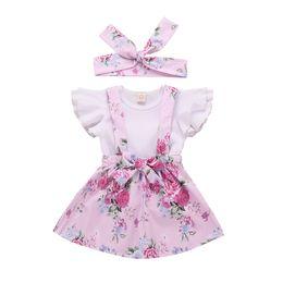 Mangas de colete on-line-Menina da criança Suspender Saia Conjunto Infantil Bebê Ruffles Tops Geral Saia Floral Conjuntos de Roupas 3 pcs set