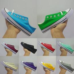 Sapatos de lona de cor vermelha on-line-Com Caixa de Multi Cores Originais Lime verde Amarelo Vermelho Da Lona 2019 Designer de Calçados Casuais Para Homens Das Mulheres de Luxo Plano Patins Formadores Sapatos De Golfe