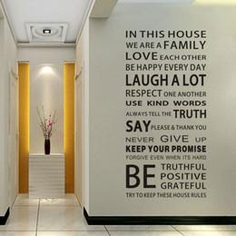İngilizce Atasözleri Duvar Sticker Family House Kuralları Duvar Sticker Çıkartması DIY Dekor Ev Çocuklar Büyük Hediye Duvar Kağıtları nereden ev kuralları duvar etiketleri tedarikçiler