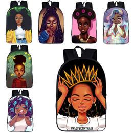 2019 mochila princesa meninas Afro lady escola mochilas 32 cores áfrica meninas de beleza princesa sacos de escola adolescente meninas descompressão 16 polegada sacos de livro de escola 04 mochila princesa meninas barato