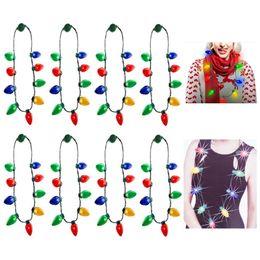 conduit ampoule collier Promotion Led allumer collier de ampoule de noël pour les enfants et les adultes chaîne lumières collier décorations de noël faveurs du parti de Noël HH9-2414