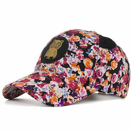 2019 chapéu do snapback da coruja KLV 2019 Mulheres Coruja Impressão Floral Boné de Beisebol Snapback Chapéu De Sol Chapéu Plana Frete Grátis D5 desconto chapéu do snapback da coruja