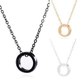 2019 pareja coreana regalos Moda japonesa y coreana Anillo de círculo de metal simple Collar de pareja geométrica Aolly Artículos de joyería Regalo de San Valentín rebajas pareja coreana regalos