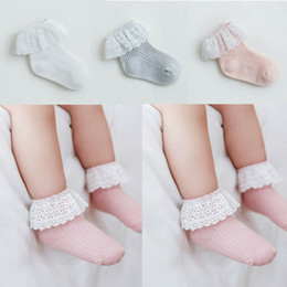 Girl/'s Children/'s Ribbed Frilly Lace Edge and Bow Ankle Socks Pink and White