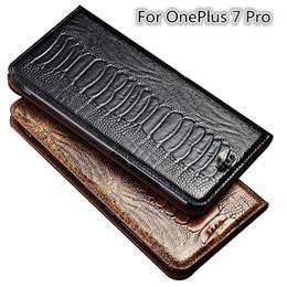 Estuche para tarjeta oneplus online-Avestruz pie textura caso del tirón del cuero genuino para OnePlus 7 Pro caja del teléfono para OnePlus 7 Pro bolso del teléfono titular
