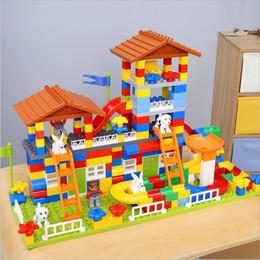 2019 blocos de construção do castelo de brinquedo de plástico 89 178 PCS DIY Cidade Colorida Telhado Grande Partícula Blocos de Construção ABS Castelo De Plástico Brinquedo Educativo Para O Presente de Aniversário do miúdo 89-178 blocos de construção do castelo de brinquedo de plástico barato