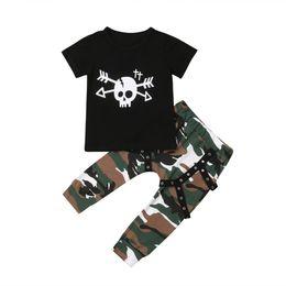 Cute Kids Baby Boy Skull manica corta in cotone t-shirt Top Camo pantaloni lunghi Leggings moda 2 pezzi abiti abiti cheap long sleeve camo t shirts da magliette maniche lunghe in camo fornitori
