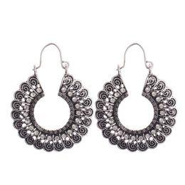 1 pair  Tribal Brass hoop Carved Flower Ornate Swirl Gypsy Earring For Women Boho Vintage Earring rings for woman от
