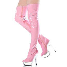 Plastik knie high heel stiefel online-Sexy High Heels Nachtclub Stiefel Lange Klare Kunststoff-PVC-Schuhe High Heels Roune Teo über dem Knie Frauen Stiefel Rosa Bdsm Oberschenkel Stiefel