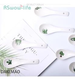 piccole piante Sconti Cucchiaio di ceramica nordica Creativo Green Plant Cucchiaio di piccole dimensioni in ceramica bianca casa albergo articoli per la tavola Forniture da cucina di casa