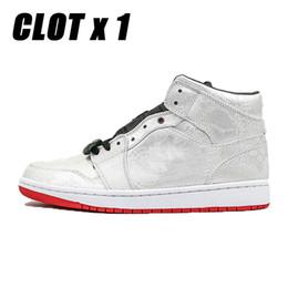 Cinza de seda on-line-Clot Silk X Classic 1 Mid Skate Sapatos 1s Moedas Grey Branco respirável Plataforma Designer sapata sapatas do homem da forma de Womans Sports
