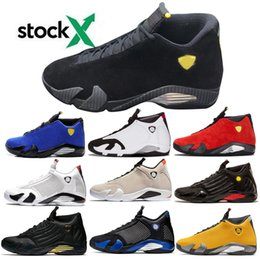 2020 tirer des chaussures 14 14s inverse Last Shot Basketball Hommes Chaussures Noir Blue Thunder Red Suede Last Shot Black Thunder Jaune DMP Sneakers tirer des chaussures pas cher