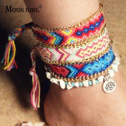 boho chic bijoux Promotion MOON GIRL 2Pcs / Set Yoga Lotus Bracelets de cheville Bracelets pour femmes Mode Boho Weave Charm Bracelet Chic Gilr Leg pied Bijoux Dropship