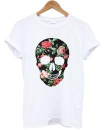 Цветочный череп цветной Майка печати TUMBLR инди-хипстер Роза женщины ТОП мужчины девушка размер Discout горячая новый футболка джинсовая одежда Camiseta футболка от