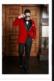 2019 trajes de lana pico desgaste tuxedos hechas a medida para hombre rojos trajes para trajes de etiqueta de la boda de la boda