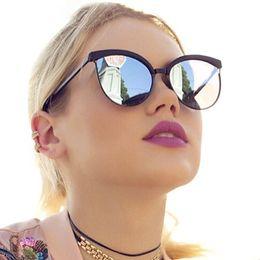 máscaras de moda feminina olho Desconto 2019 new cat eye sunglasses mulheres moda feminina designer de marca espelho cateye óculos de sol para o sexo feminino máscaras uv400