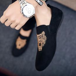 Schuhdruck stoff billig online-herren casual müßiggänger schuhe atmungsaktiv leichte stoff mode tier drucke leopard schwarz grau blau flach mit billigen männlichen schuhe