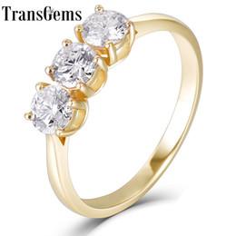 2019 кольцо из желтого золота 14к Transgems Solid 14 К Желтое Золото 3 Камень Всего 1ctw F Цвет Муассанит Обручальное Кольцо Обручальное Кольцо Для Женщин Y19061203