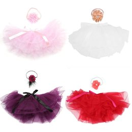 wholesale infant bubbles Promo Codes - Newborn Photography Props Infant Baby Pettiskirt Gauze Bubble Skirt Headband Set Photography Costume Outfit Princess Skirt