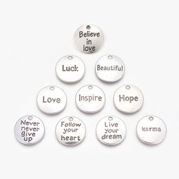 10//30PcsTibetan Silver Round Love and beloved//live your dream Word Charm Pendant