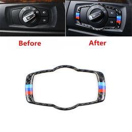 Interruptor de faro bmw online-1 UNIDS Interruptor de los faros delanteros del coche Botón de la cubierta del marco del ajuste de fibra de carbono para BMW 3 Series E90 DIY
