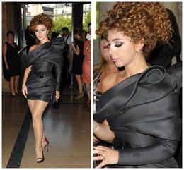 myriam fares viste un hombro Rebajas 2019 Nueva vaina sexy corta Mini Celebrity Dress Myriam Fares Dress Un hombro lentejuelas Sash pliegues vestidos de noche de manga larga