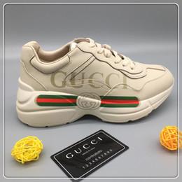 Mujer de los hombres forman los zapatos ocasionales las zapatillas de deporte masculino Plataforma Zapatos de hombre con la caja original Rhyton la zapatilla de deporte de lujo nave de la gota desde fabricantes