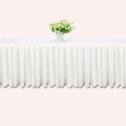 2019 botín de mesa de bodas de oro 3m tabla de la boda faldas blanco hielo seda mesa de la boda falda de tela decoración