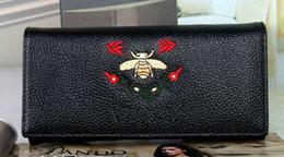 2019 bolsos de cuero bordados Nuevos Patrones Bordados de Alta Calidad de Cuero Monedero Marca Famosa Mujeres de Lujo Cartera de Diseñador cartera de Moda de Lujo Bolso Diseñador monedero bolsos de cuero bordados baratos