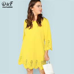 4b618a1873e laser cut dresses Coupons - Dotfashion Plus Size Yellow Scallop Edge Laser  Cut Tunic Dress Women