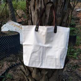 Большие хлопчатобумажные сумки онлайн-большая и толстый 16oz хлопкового холста сумка с ручками из натуральной кожи толщины хлопчатобумажной хозяйственной сумки натурального холст сумки выходной