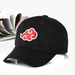 Bonés de beisebol japoneses on-line-100% Algodão Japonês Logotipo Akatsuki Anime Naruto Pai Chapéu Uchiha Logotipo Da Família Bordado Bonés de Beisebol Preto Snapback Chapéus dropship
