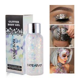 2019 polvere piccola bottiglia Glitter Body Gel Face Polvere flash laser Glitter Paillettes 9 colori di colore misto Piccola bottiglia carina per il palco polvere piccola bottiglia economici