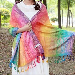 rainbow print scarfs Promo Codes - CoolCheer Winter Women Scarf Rainbow Jacquard Scarves Ethnic Style Floral Print Shawls Colorful Ladies Long Pashminas T200103
