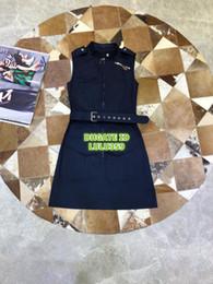 Meninas mini breve on-line-Moda Feminina Vintage Belted Cargo Vestido Feminina High-End Tops Camisas Casuais Meninas Breve pista A-Line Tee Vestido 2019