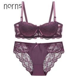 Norns women's large size underwear set transparent bra push up red bra underwear lace embroidery intimate bras sexy lingerie set от