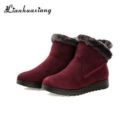 0af587f28 2019 botas de tornozelo médio sapatos Mulheres Botas Inverno Quente Para  Baixo Tornozelo Zip Rodada Toe