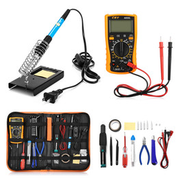 soldering tool electric Coupons - 23 in 1 Multi-use Electric Soldering Iron Tools Set Various Devices Temperature Multimeter Desoldeirng Pump Welding Tool US EU UK plug