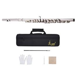 Agujero de guantes online-Flauta de concierto occidental plateada 16 hoyos C llave Cupronickel Instrumento de viento de madera con paño de limpieza Stick guantes Destornillador