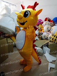 caráter, trajes, amarelo Desconto Boa Qualidade Dragão Amarelo Mascot Costume Anime Tema Carnaval Dos Desenhos Animados do Dia Das Bruxas Dinossauro Traje Personagem Terno de Festa de Natal
