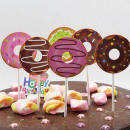 decoram a festa do queque Desconto Bonito Dos Desenhos Animados Rosquinha Em Forma de Bolo De Papel Decoração Topper Bolo Decoração Inserir Bolo Picaretas Cupcake Toppers Festa de Aniversário ZC1099