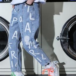 рваные джинсы корейские мужчины Скидка Korean Women/Men Streetwear Vintage English Letter Print Loose Harem Ripped Denim Pant Plus Size High Waist Slim Jeans Hiphop