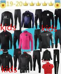 Jogging camisetas on-line-Crianças Psg treino 2019 20 France 2 Stars psg futebol jaqueta de jogging 2019-2020 Paris criança terno de Treinamento de Futebol