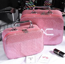 Maquiagem cosméticos sacos grande on-line-Famous M Brand Cosmetic Bag Makeup Bags Portable PU Women Make Up Case Storage Bag Travel Wash Bag 6 Colors Big Small Size Wholesale